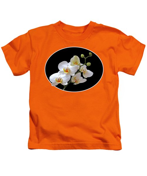 Orchids On Black And Orange Kids T-Shirt by Gill Billington