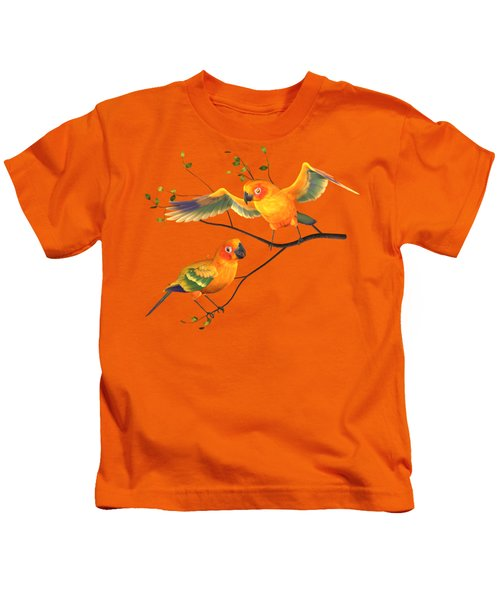 Parrots Conure Kids T-Shirt by Diane Leenknegt