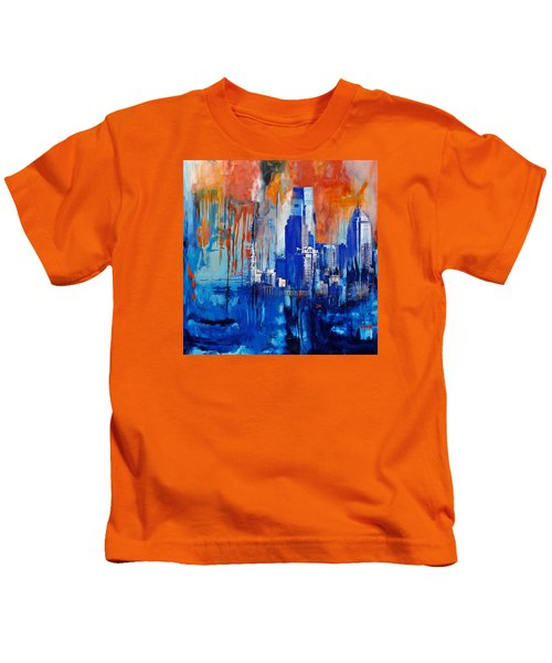 Philadelphia Skyline 227 1 Kids T-Shirt by Mawra Tahreem