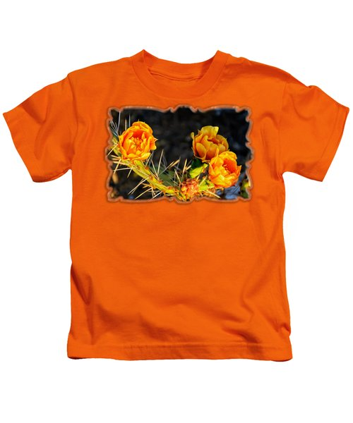 Prickly Pear Flowers Op49 Kids T-Shirt by Mark Myhaver