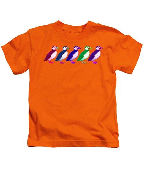Puffins Apparel Design Kids T-Shirt by Teresa Ascone
