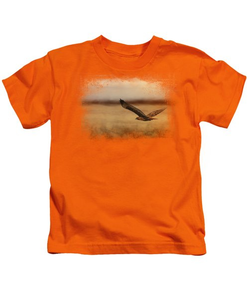 Redtail In The Field Kids T-Shirt by Jai Johnson