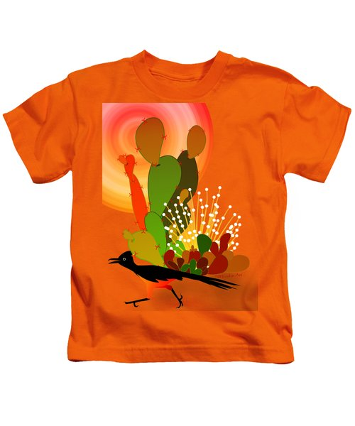 Roadrunner Sunrise Kids T-Shirt by Methune Hively