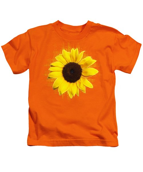 Sunflower Sunburst Kids T-Shirt by Gill Billington