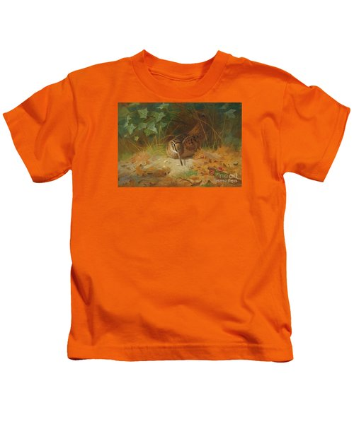 Woodcock Kids T-Shirt by Celestial Images