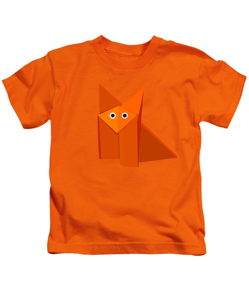 Yellow Cute Origami Fox Kids T-Shirt by Boriana Giormova