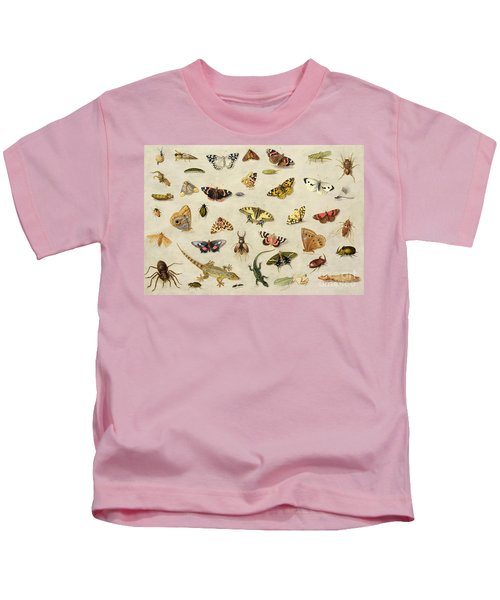 A Study Of Insects Kids T-Shirt by Jan Van Kessel