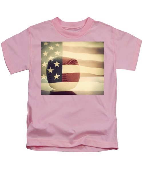 Americana Baseball  Kids T-Shirt by Terry DeLuco