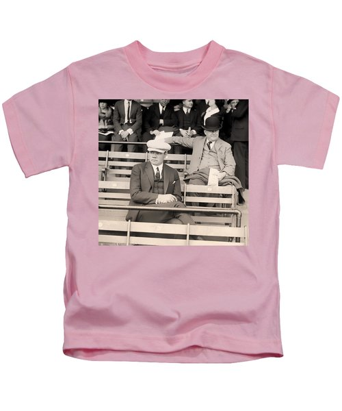 Babe Ruth In The Stands At Griffith Stadium 1922 Kids T-Shirt by Mountain Dreams