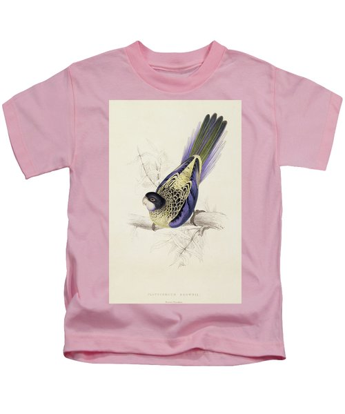 Browns Parakeet Kids T-Shirt by Edward Lear