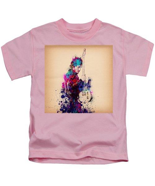 Bruce Springsteen Splats And Guitar Kids T-Shirt by Bekim Art