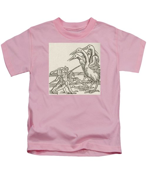 Fight Between Pygmies And Cranes. A Story From Greek Mythology Kids T-Shirt by English School