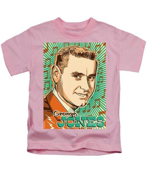 George Jones Pop Art Kids T-Shirt by Jim Zahniser