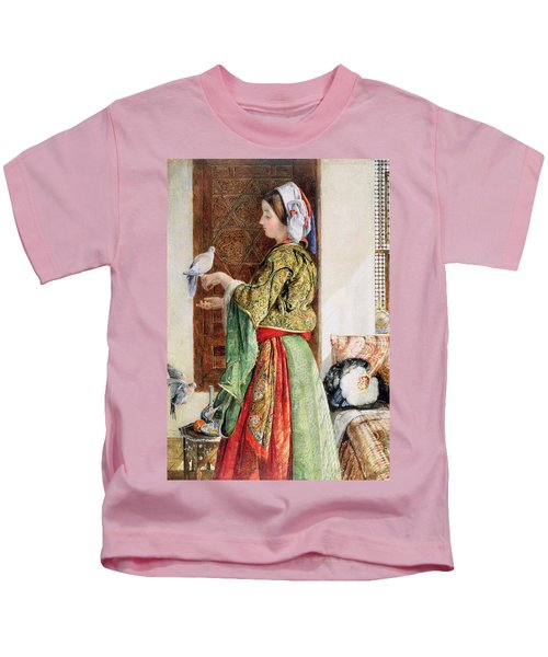 Girl With Two Caged Doves, Cairo, 1864 Kids T-Shirt by John Frederick Lewis