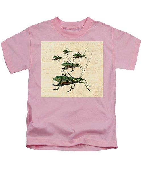Grasshopper Parade Kids T-Shirt by Antique Images