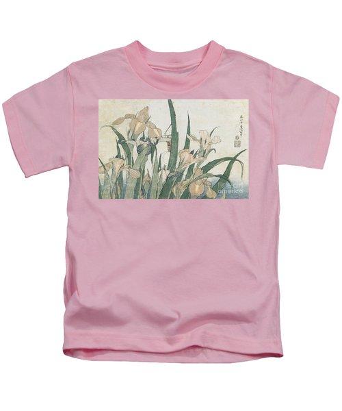 Iris Flowers And Grasshopper Kids T-Shirt by Hokusai