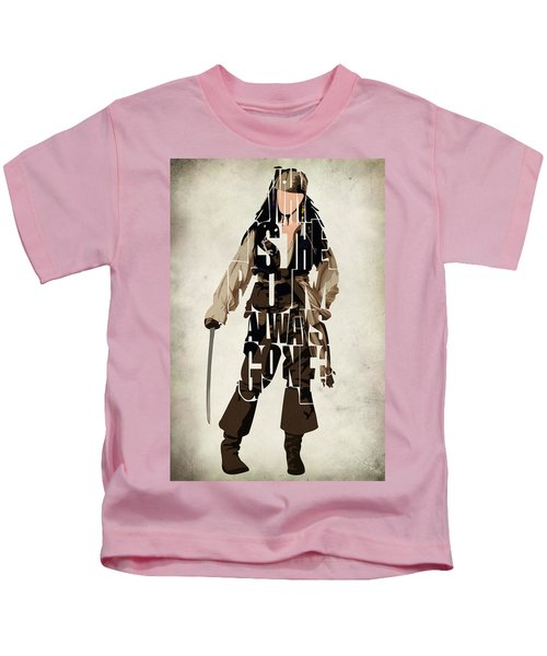 Jack Sparrow Inspired Pirates Of The Caribbean Typographic Poster Kids T-Shirt by Ayse Deniz