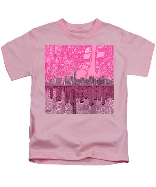 Miami Skyline Abstract 4 Kids T-Shirt by Bekim Art