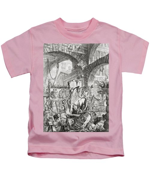 The Man On The Rack Plate II From Carceri D'invenzione Kids T-Shirt by Giovanni Battista Piranesi