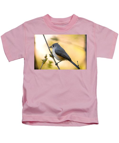 Titmouse In Gold Kids T-Shirt by Shane Holsclaw