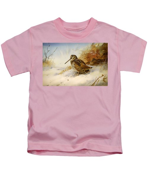 Winter Woodcock Kids T-Shirt by Mountain Dreams