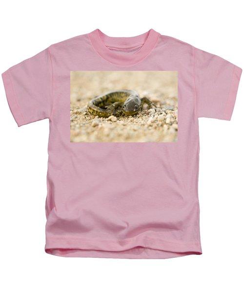 Close Up Tiger Salamander Kids T-Shirt by Mark Duffy