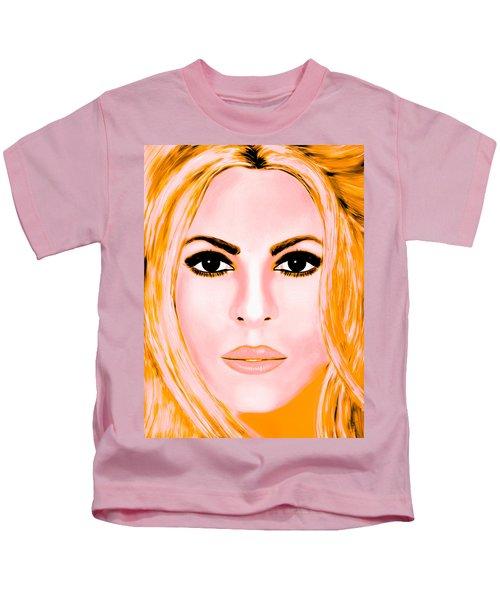 Gold Shakira Kids T-Shirt by Mathieu Lalonde