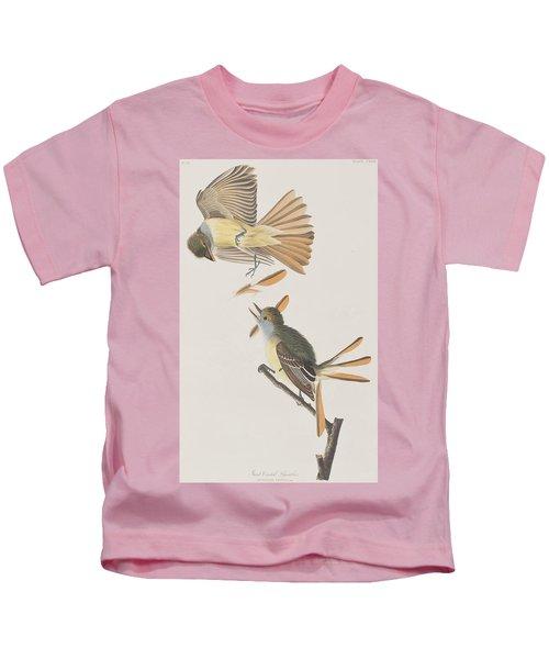 Great Crested Flycatcher Kids T-Shirt by John James Audubon