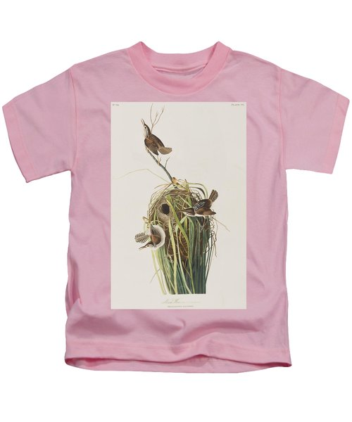 Marsh Wren  Kids T-Shirt by John James Audubon