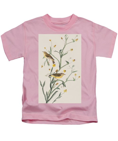 Yellow Red-poll Warbler Kids T-Shirt by John James Audubon