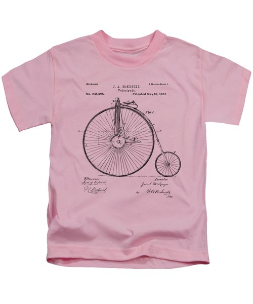1881 Velocipede Bicycle Patent Artwork - Vintage Kids T-Shirt by Nikki Marie Smith
