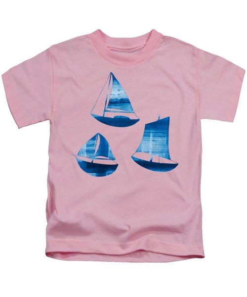 3 Little Blue Sailing Boats Kids T-Shirt by Frank Tschakert
