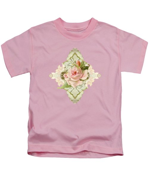 Summer At The Cottage - Vintage Style Damask Roses Kids T-Shirt by Audrey Jeanne Roberts