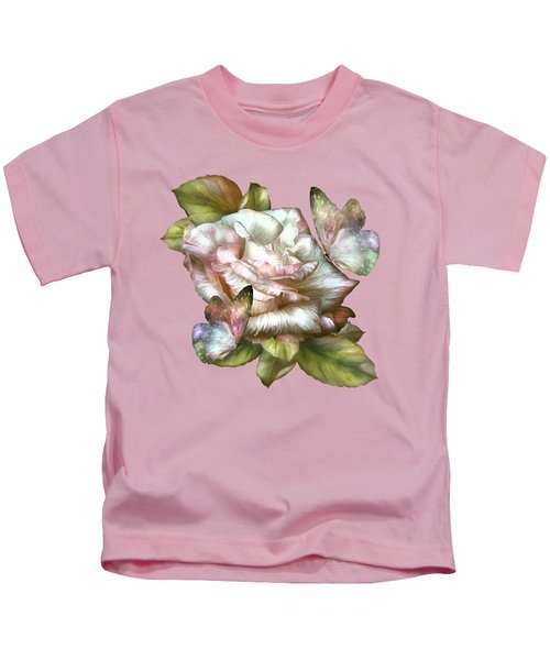 Antique Rose And Butterflies Kids T-Shirt by Carol Cavalaris