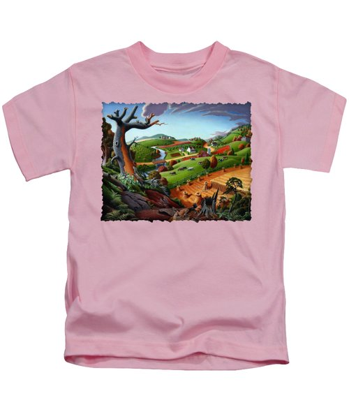 Appalachian Fall Thanksgiving Wheat Field Harvest Farm Landscape Painting - Rural Americana - Autumn Kids T-Shirt by Walt Curlee