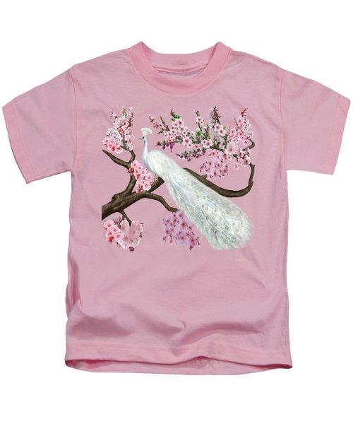 Cherry Blossom Peacock Kids T-Shirt by Glenn Holbrook