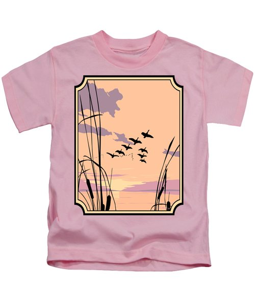 Abstract Ducks Sunset 1980s Acrylic Ducks Sunset Large 1980s Pop Art Nouveau Painting Retro      Kids T-Shirt by Walt Curlee
