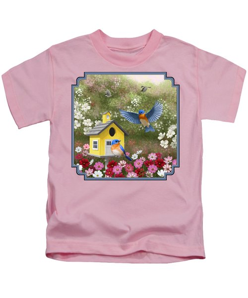 Bluebirds And Yellow Birdhouse Kids T-Shirt by Crista Forest