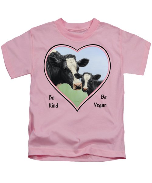 Holstein Cow And Calf Pink Heart Vegan Kids T-Shirt by Crista Forest