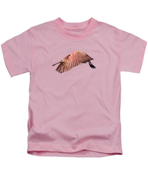 Roseate Spoonbill In Flight Kids T-Shirt by John Harmon
