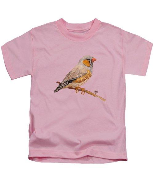 Zebra Finch Kids T-Shirt by Angeles M Pomata