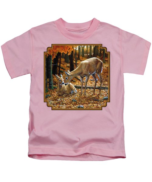 Whitetail Deer - Autumn Innocence 2 Kids T-Shirt by Crista Forest