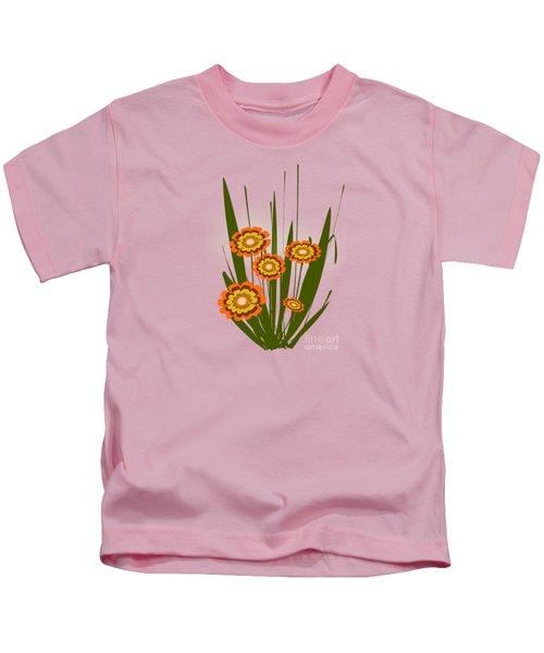 Orange Flowers Kids T-Shirt by Anastasiya Malakhova