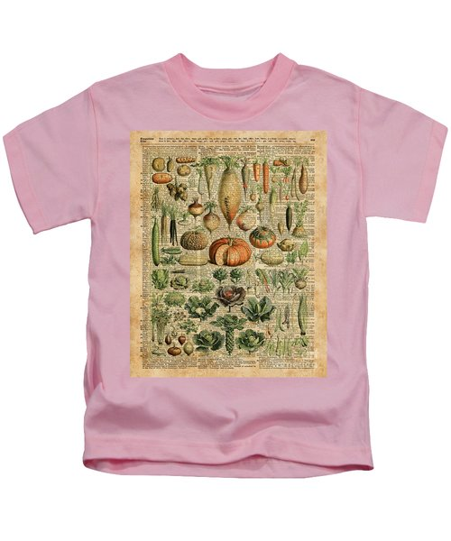 Autumn Fall Vegetables Kiche Harvest Thanksgiving Dictionary Art Vintage Cottage Chic Kids T-Shirt by Jacob Kuch
