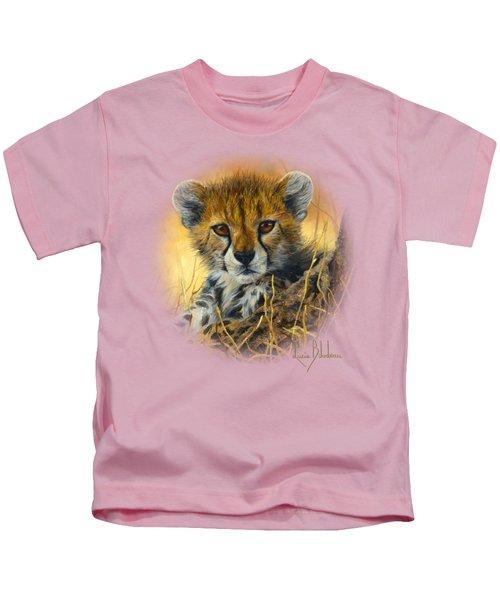 Baby Cheetah  Kids T-Shirt by Lucie Bilodeau