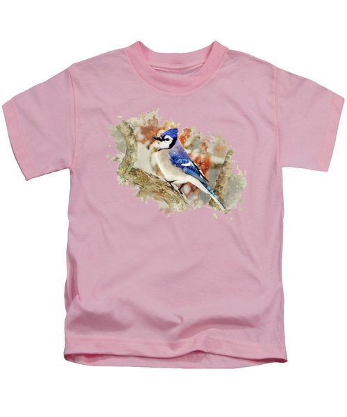 Beautiful Blue Jay - Watercolor Art Kids T-Shirt by Christina Rollo