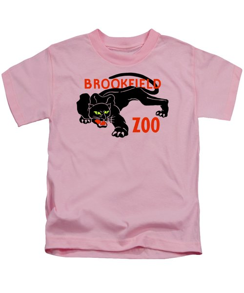 Black Panther Brookfield Zoo Ad Kids T-Shirt by Heidi De Leeuw