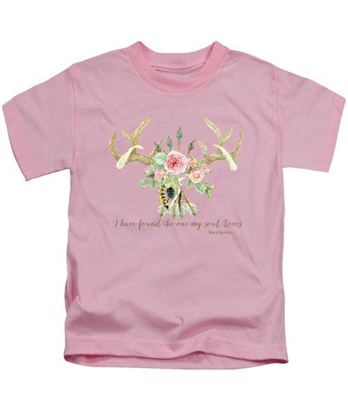 Boho Love - Deer Antlers Floral Inspirational Kids T-Shirt by Audrey Jeanne Roberts