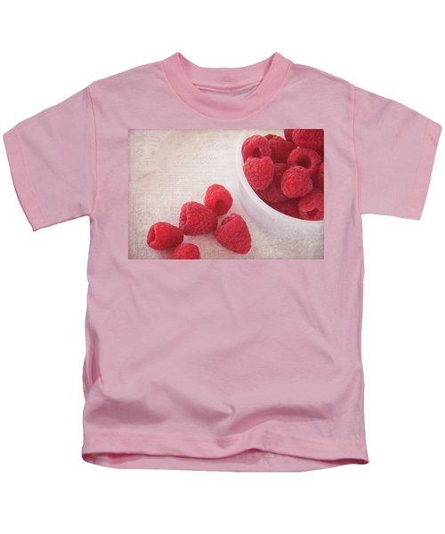 Bowl Of Red Raspberries Kids T-Shirt by Cindi Ressler