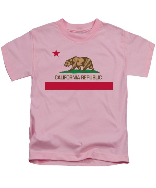California Republic State Flag Authentic Version Kids T-Shirt by Bruce Stanfield